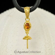 PENDANT BAIL Finding Orange SAPPHIRE & 24K Gold Vermeil on Sterling Silver 1.33g