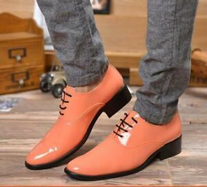 Men Formal Patent Leather Flats Shoes Dress Business Party Low Heels Oxfords