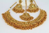 Gold Plated Indian Fashion Jewelry Wedding Necklace Earring Tikka Set Women New