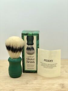 Vintage New Surrey Natural Boar Shaving Brush Made In USA Green
