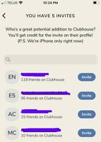 Clubhouse App Invite Invitation Code - iOS Only