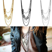 Women Party Multilayer Leaf Charms Necklace Boho tassel Long Chain Pendant