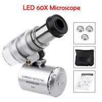 60x Lupe Mini Mikroskop Taschenmikroskop Taschenlupe Juwelierlupe Schmuck LED UV