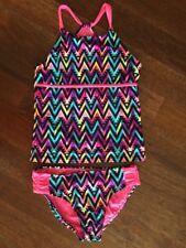 NEW Justice Kids Girls 14 Neon Rainbow Tankini Bathing Suit