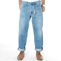 Diesel Herren Relaxed Fit Stretch Jeans Hose Hellblau Stonewashed W32 L30