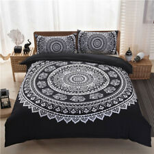 Bohemian Black Quilt Duvet Doona Cover Set Queen Size Bed Linen Pillow Cases