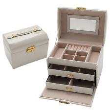 White Jewelry Case Large Elegant Faux Leather Box Gift Box Case Organizer 78