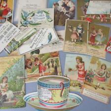 Lot 28 Antique Victorian c1900 ADVERTISING Cards Scraps LADIES Flowers CHILDREN+