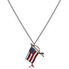 4th of July Patriotic Red White Blue American USA Flag Necklace Pendant US