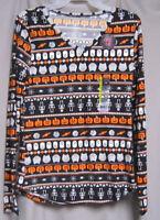 Juniors XL 15/17 Long Sleeve Halloween Shirt with Ghosts Pumpkins Skeletons