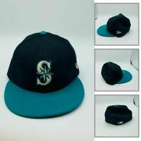 New Era Men Casual Baseball Seattle Mariners Fitted Cap MLB Black Size 6 3/4 NEW