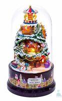 DIY Handcraft Miniature Doll House Rotating Music World White Christmas Carnival