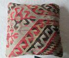Antique Turkish Anatolian Kilim Rug Pillow  15  X 15
