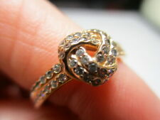 STERLING SILVER 925 ESTATE ALE ROSE VERMEIL CUBIC ZIRCONIA KNOT BAND RING SIZE 6