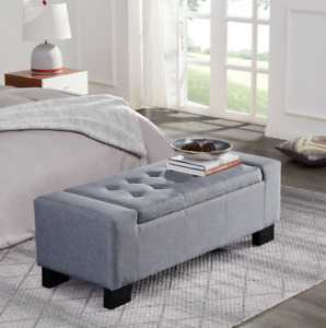"""Contemporary Upholstered Tufted Top Fabric 48 """" Storage ottoman Bench Free Ship"""