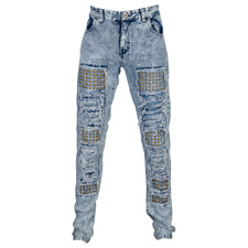 """New DNM """"GOLD STUDDED"""" Ripped & Torn Slim Fit Men's 34 Jeans HIT AF SS17-B149"""