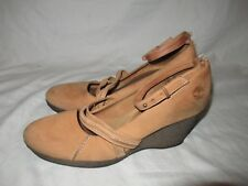 Gorgeous! TIMBERLAND Womens Honey Brown Suede Platform Ankle Strap Wedges Sz 9