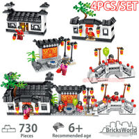 Building Blocks Bricks Chinese New Year City Street View DIY Toys Gifts 4PCS/SET