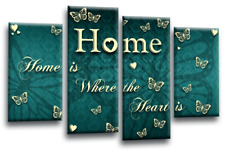 HOME QUOTE WALL ART Picture Teal Cream Love Canvas Print Split Multi SET 1