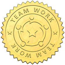 "Elegant GOLD embossed foil certificate seals ""TEAM WORK"" TM1 - 50 pack"