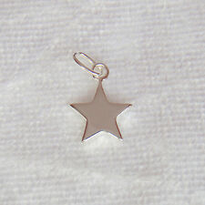 Sterling Silver Flat Solid Star Charm 9mm 925
