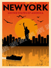 AMERICA NEW YORK  VINTAGE RETRO TRAVEL HOLIDAY METAL SIGN:HOME DECOR GIFT