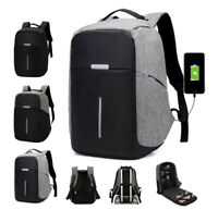 "Anti-Theft Waterproof Laptop Backpack External USB Charge Port 15"" School Bag"