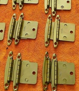 12 Cabinet Hinges Vintage Polished Brass From the 1990's Set of 6