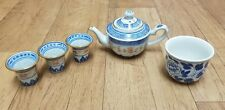 Chinese Rice Eye Blue and White with Flower Pattern Teapot, Sake Cups & Cup