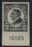 US Stamps - Scott # 611 - 2c Harding Imperf - Plate # Single - MVLH - VF (H-378)