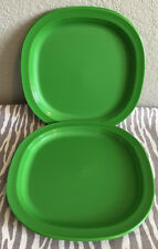 """Tupperware Luncheon Plates Square Dinner Plates Green Set Of 4 New 9 1/2"""" New"""