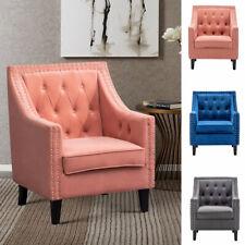 Chesterfield Velvet Sofa Accent Tub Club Chair Button High Back Lounge Armchair