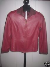 SIGRID OLSEN LADIES DK RED SOFT LEATHER ZIP JACKET-6-LINED-GENTLY WORN-NICE