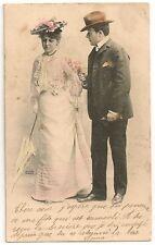Cartes postales ancienne Fantaisie Portrait Homme Femme Couple 1903
