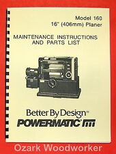 POWERMATIC 160 16-inch Planer Operator Parts Manual 0519