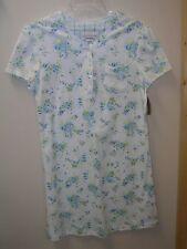 Karen Neuburger Nightshirt Size Small cap sleeve blue white stripe floral New