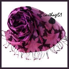 Etole Echarpe foulard 100 % Laine - mauve rose bordeaux prune