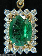 EMERALD PENDANT NATURAL 3.45CT DIAMOND 14KT VIVID BRILLIANT A+ GEM GREEN $12000