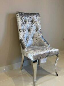 Cheshire Knocker Back Dining Chair Silver Crushed Velvet Louis Chrome Metal Legs