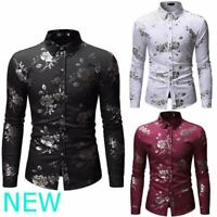 Floral Luxury Stylish Top Long Sleeve Shirt Slim Fit Dress Shirts Casual Mens