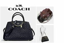 Coach F55451 Small Margot Carryall Satchel Signature Debossed Leather Midnight