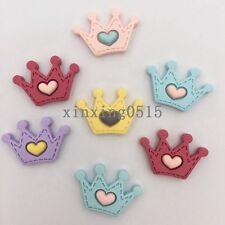 DIY 10pcs Mix Resin heart crown Flatback stone buttons/Children scrapbook crafts