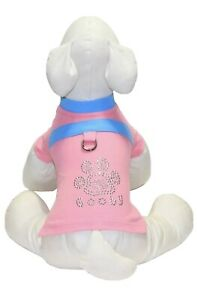 *NEW Gooby Paw Rhinestone Dog T-Shirt Cotton Pink w/ Blue Contrast - Size Small