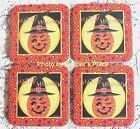 4 Longaberger Basket WINKY WITCH KIN Coasters Deb Strain Happy Halloween New