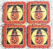 4 Longaberger Basket Winky Witch Kin Coasters Deb Strain Happy Halloween New