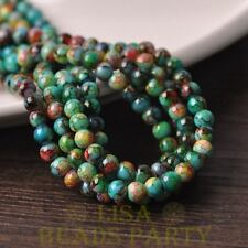 New 50pcs 6mm Round Glass With Color Coated Loose Spacer Beads Green&Blue