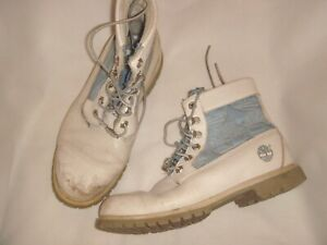 01 Timberland Light Grey Leather & Blue Over Ankle Combat Boots Size US 9 UK 7
