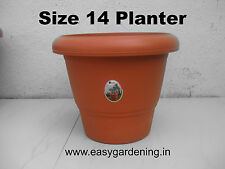 "14"" Gardening Pots - Terracotta Color Plastic Planter (Pack of Six)"