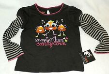 New Girls 24 Months Halloween T-Shirt Sweeter Than Candy Corn Long Sleeves