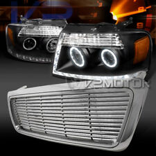 2004-2008 Ford F150 Black LED DRL Projector Headlights+Chrome ABS Billet Grille